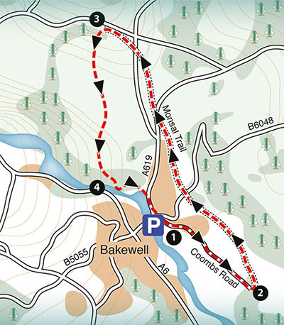 sample map of a walk around Monsal Trail