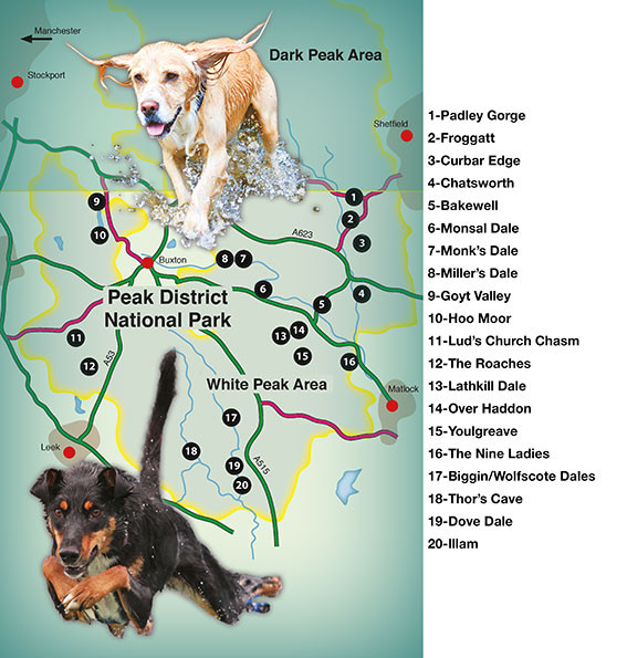 overall map of Countryside Dog Walks in the Peak District South